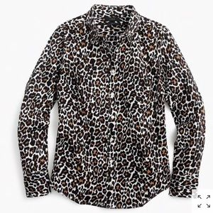 Women's Leopard Perfect Shirt by J. Crew Blouse 6